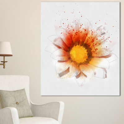 Designart Yellow Orange Flower Watercolor FlowerArtwork On Canvas