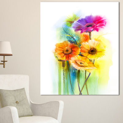 Designart Yellow Orange Purple Gerbera Flowers Large Floral Canvas Art Print - 3 Panels