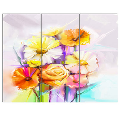 Designart Yellow Pink Gerbera And Rose Bouquet Extra Large Floral Wall Art - 3 Panels