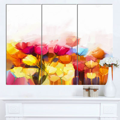 Designart Yellow Pink Red Tulips On White Large Floral Canvas Artwork - 3 Panels