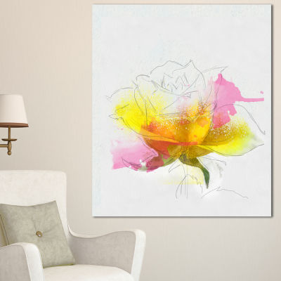 Designart Yellow Pink Rose Sketch Watercolor Floral Canvas Art Print
