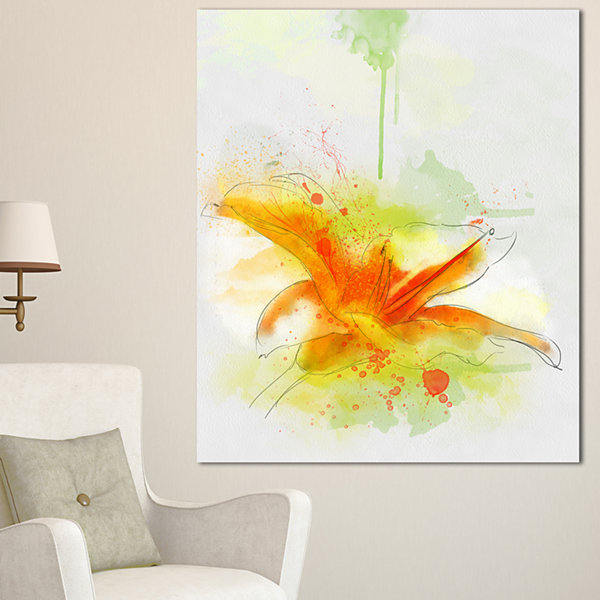 Design Art Yellow Red Flower With Color Splashes Floral Canvas Art Print
