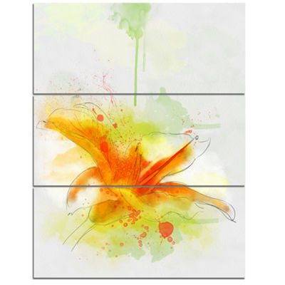 Designart Yellow Red Flower With Color Splashes Floral Canvas Art Print - 3 Panels