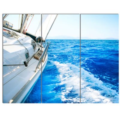 Designart White Sailing Yacht In Blue Sea Large Seashore Canvas Wall Art - 3 Panels