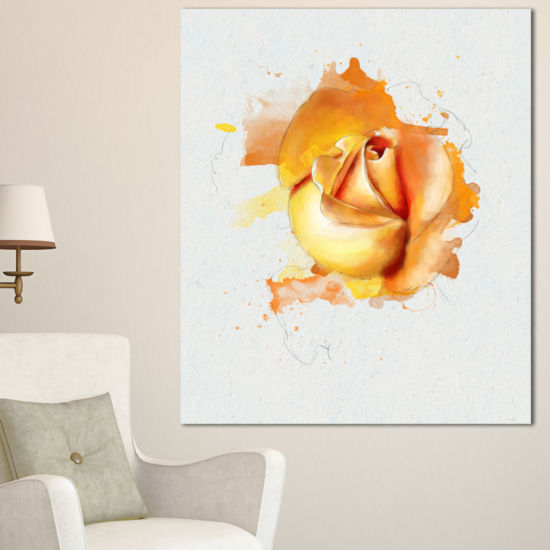 Designart Yellow Rose Flower On White Back FlowerArtwork On Canvas