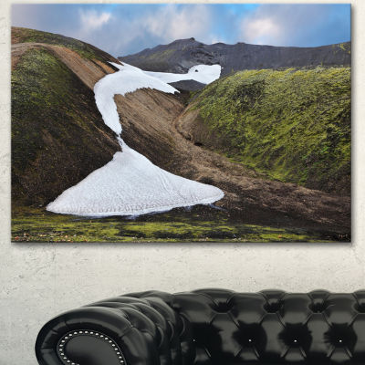 Designart White Spots Snowfields In Gullies LargeLandscape Canvas Art