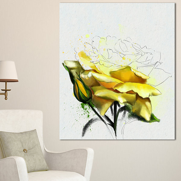 Designart Yellow Rose Illustration Watercolor Floral Canvas Art Print