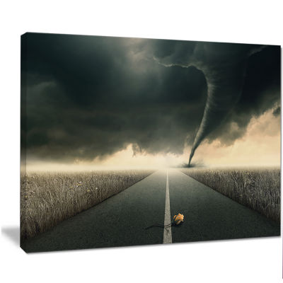 Designart Yellow Rose On The Dark Road Landscape Canvas Art Print