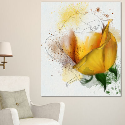 Designart Yellow Rose Watercolor Sketch Flower Artwork On Canvas