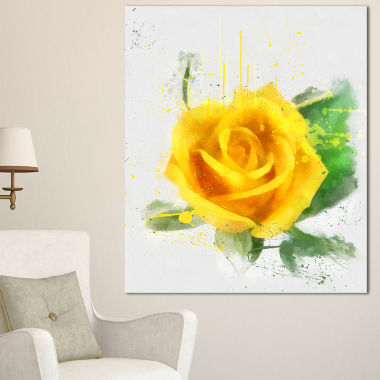 Designart Yellow Rose With Green Leaves Sketch Floral Canvas Art Print