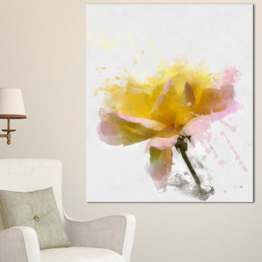 Designart Yellow Rose With Green Stem Floral Canvas Art Print