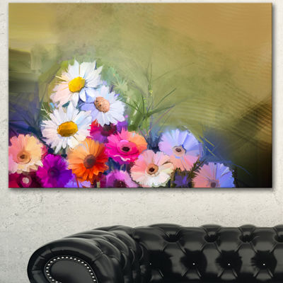 Designart White Sunflower And Gerbera Flowers Floral Canvas Art Print - 3 Panels