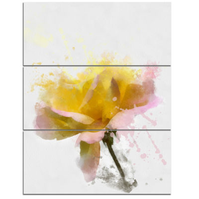Designart Yellow Rose With Green Stem Floral Canvas Art Print - 3 Panels