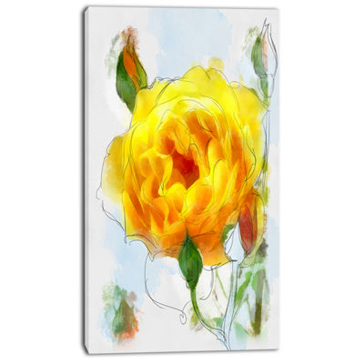 Designart Yellow Rose With Rose Buds Sketch LargeFloral Canvas Artwork