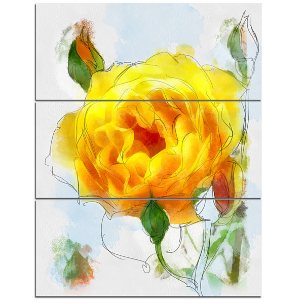 Design Art Yellow Rose With Rose Buds Sketch LargeFloral Canvas Artwork - 3 Panels