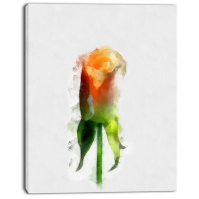 Designart Yellow Rose With Steam Drawing Flower Artwork On Canvas