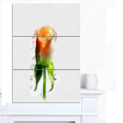 Designart Yellow Rose With Steam Drawing Flower Artwork On Canvas - 3 Panels
