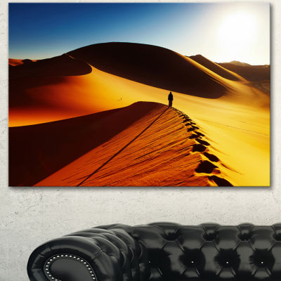 Designart Yellow Sahara Desert Algeria LandscapeCanvas Art Print - 3 Panels