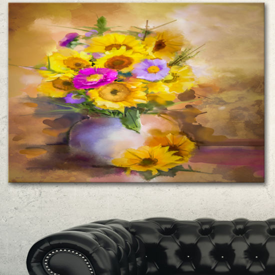 Designart Yellow Sunflower And Violet Aster Flowers Extra Large Floral Wall Art