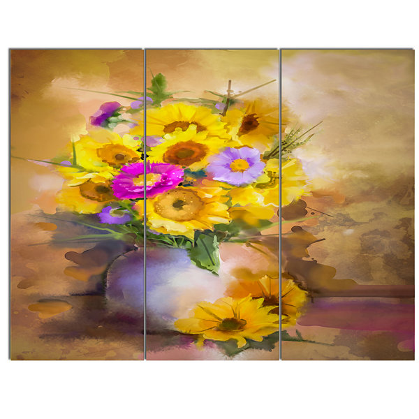 Designart Yellow Sunflower And Violet Aster Flowers Extra Large ...