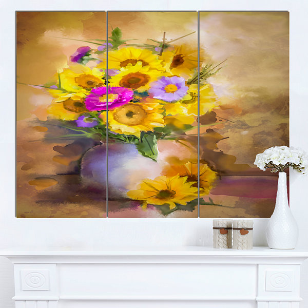 Designart Yellow Sunflower And Violet Aster Flowers Extra Large Floral Wall Art - 3 Panels