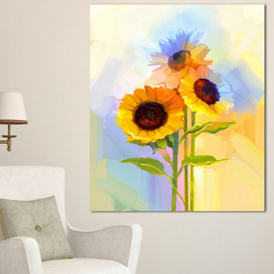 Designart Yellow Sunflowers With Green Leaves Floral Canvas Art Print