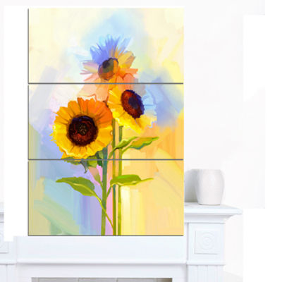 Designart Yellow Sunflowers With Green Leaves Floral Canvas Art Print - 3 Panels