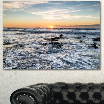 Designart White Surf With Turbulent Sea SeashoreCanvas Art Print - 3 Panels