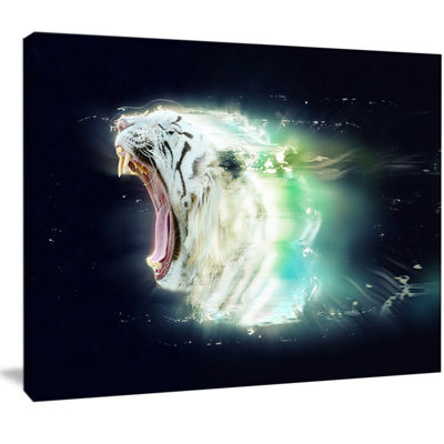 Designart White Tiger With Open Jaws Animal CanvasWall Art