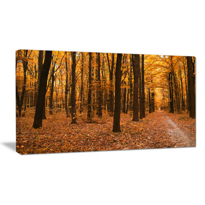 Designart Yellow Trees And Fallen Leaves Modern Forest Canvas Art