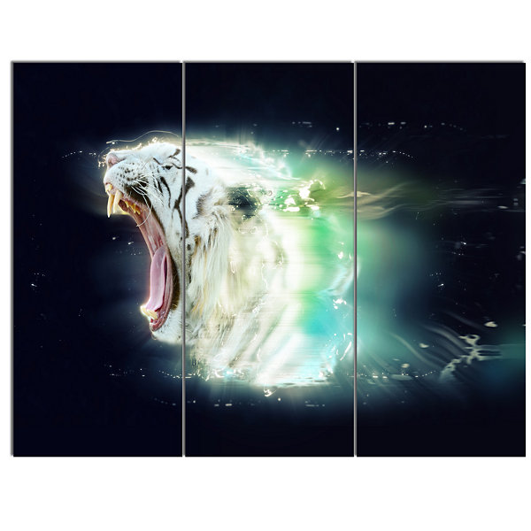 Design Art White Tiger With Open Jaws Animal CanvasWall Art - 3 Panels