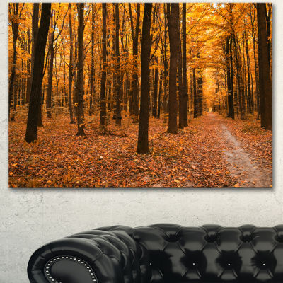 Design Art Yellow Trees And Fallen Leaves Modern Forest Canvas Art - 3 Panels