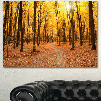 Designart Yellow Treetops In Fall Forest Modern Forest Canvas Art