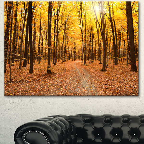 Designart Yellow Treetops In Fall Forest Modern Forest Canvas Art - 3 Panels