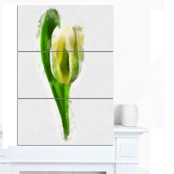 Designart White Tulip With Green Leaves Large Floral Canvas Artwork - 3 Panels
