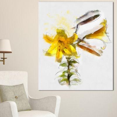 Designart Yellow Tulip Stem With Leaves Floral Canvas Art Print