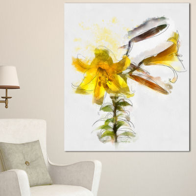 Designart Yellow Tulip Stem With Leaves Floral Canvas Art Print - 3 Panels