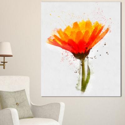 Designart Yellow Watercolor Coreopsis Flower Floral Canvas Art Print