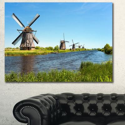 Designart Windmills At Kinderdijk Landscape CanvasArt Print