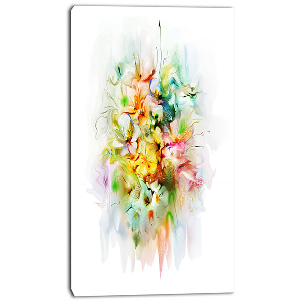 Designart Yellow Watercolor Flowers Floral CanvasArt Print