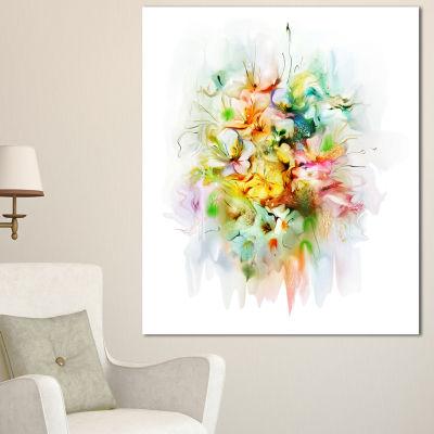 Designart Yellow Watercolor Flowers Floral CanvasArt Print - 3 Panels