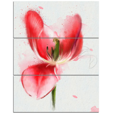 Designart Wonderful Red Poppy Watercolor Floral Canvas Art Print - 3 Panels