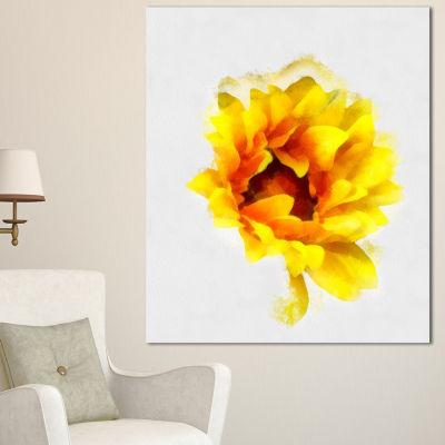 Designart Yellow Watercolor Sunflower Floral Canvas Art Print