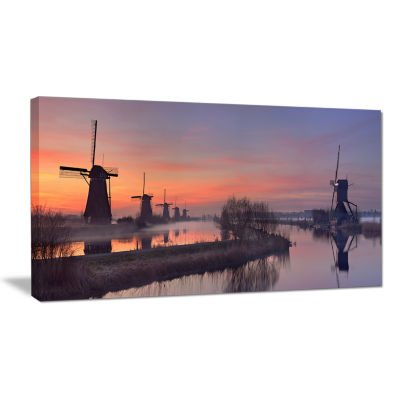 Designart Windmills At Sunrise Panorama LandscapeCanvas Art Print
