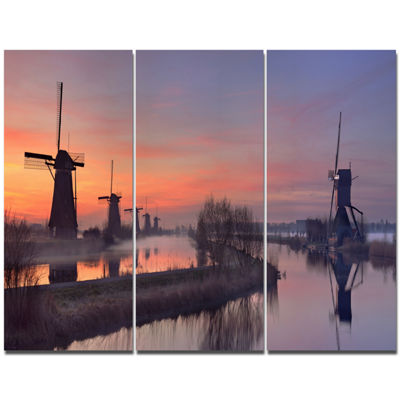 Designart Windmills At Sunrise Panorama LandscapeCanvas Art Print - 3 Panels
