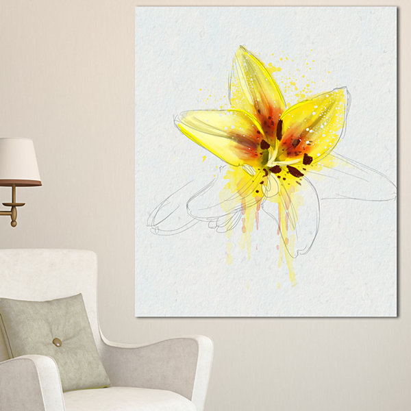 Designart Wonderful Yellow Lily Flower Sketch Floral Canvas Art Print - 3 Panels