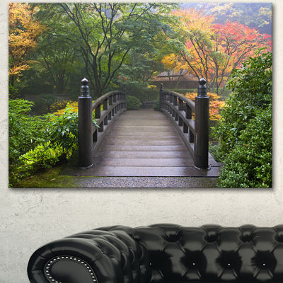 Designart Wood Bridge At Japanese Garden In FallBridge Canvas Art Print