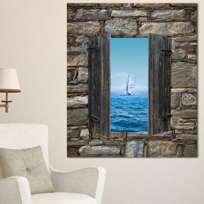 Designart Window Open To Sailing Boat Seascape Canvas Art Print - 3 Panels