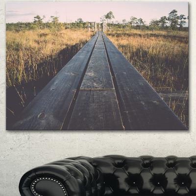Design Art Wood Footpath On The Bog In Fall LargeLandscape Canvas Art - 3 Panels