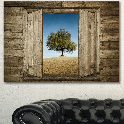 Designart Window Open To Solitary Tree Modern Landscape Canvas Art